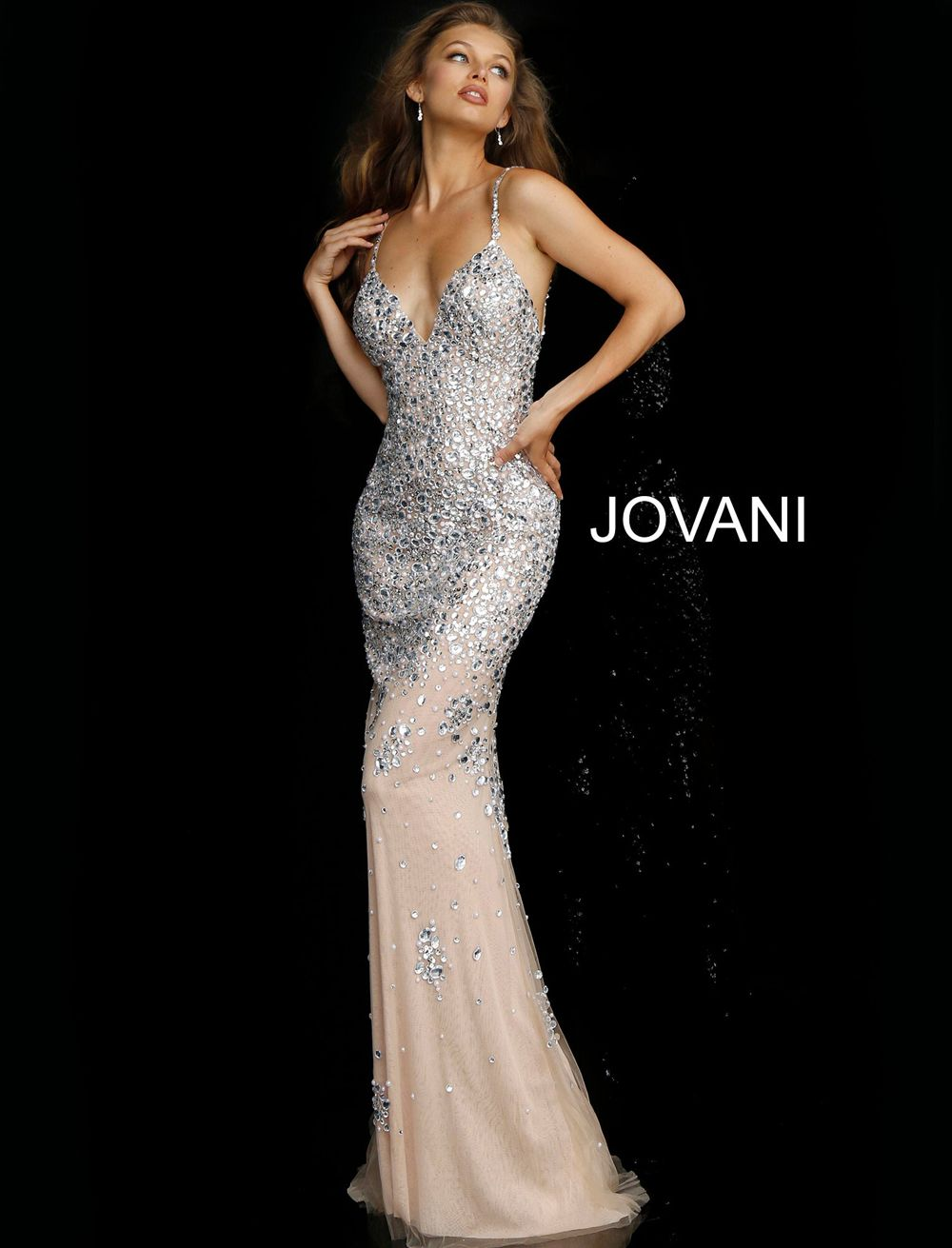 cc10ddff1f6d This Jovani 59852 silver nude formal dress is fashioned in soft tulle,  coated in dense