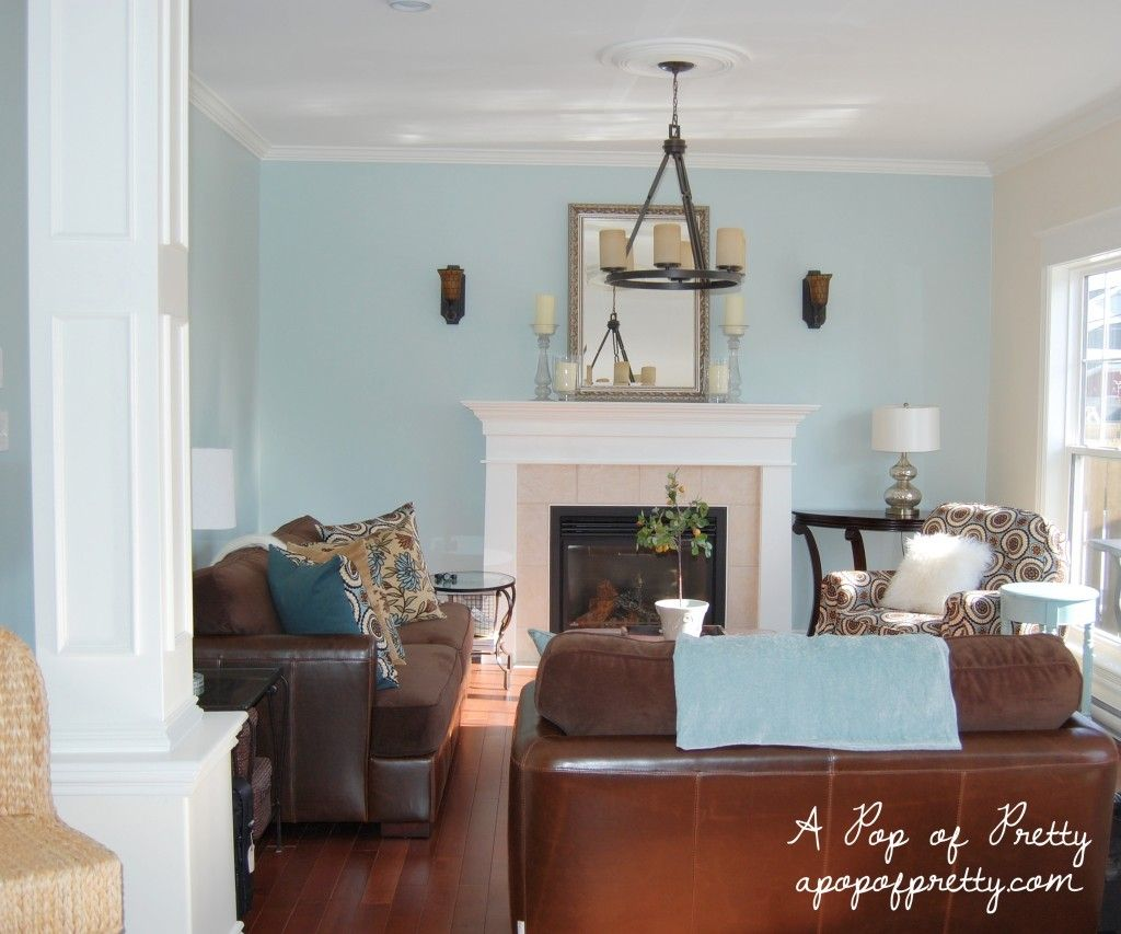 Brown and blue living room - Living Room Makeover Woodlawn Blue Creamy White Updated Pics