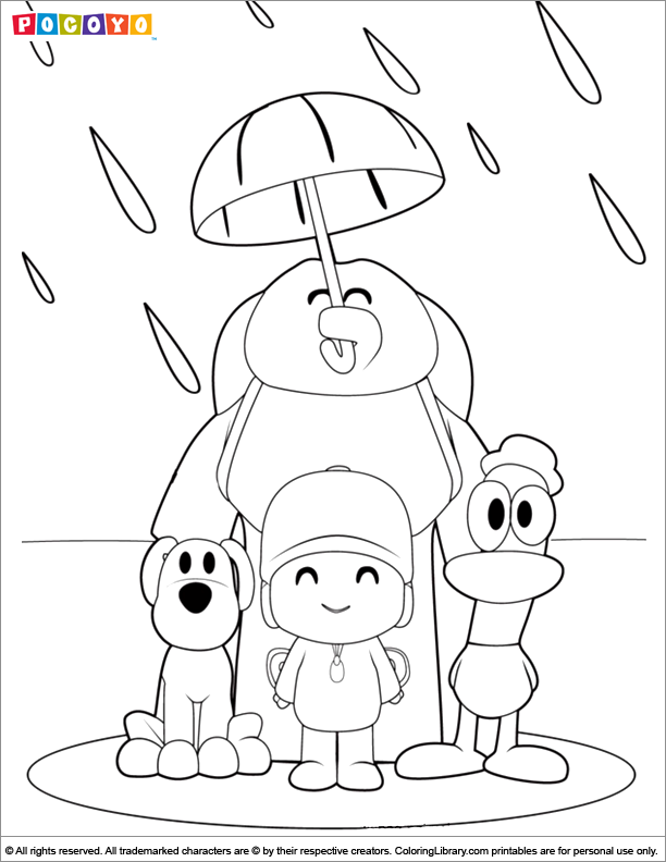 Pocoyo Coloring Picture Cartoon Coloring Pages Umbrella Coloring Page Barbie Coloring Pages