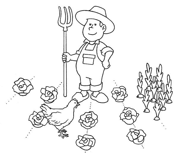 Gallina y granjero para colorear