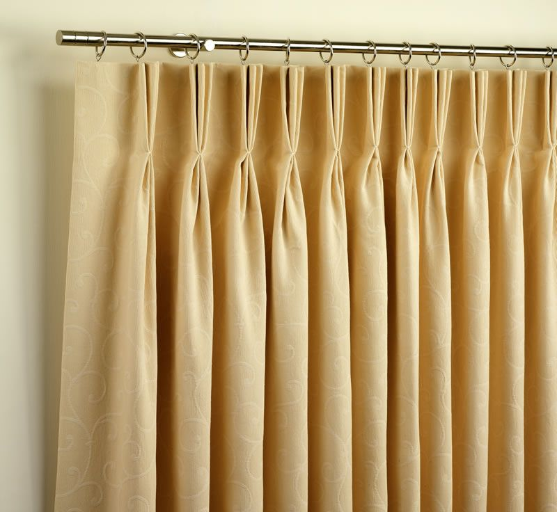 Triple Pinch Pleated Curtains With Rods And Rings