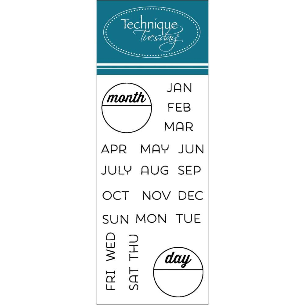 Calendar Months Days Clear Stamps Technique Tuesday Planner