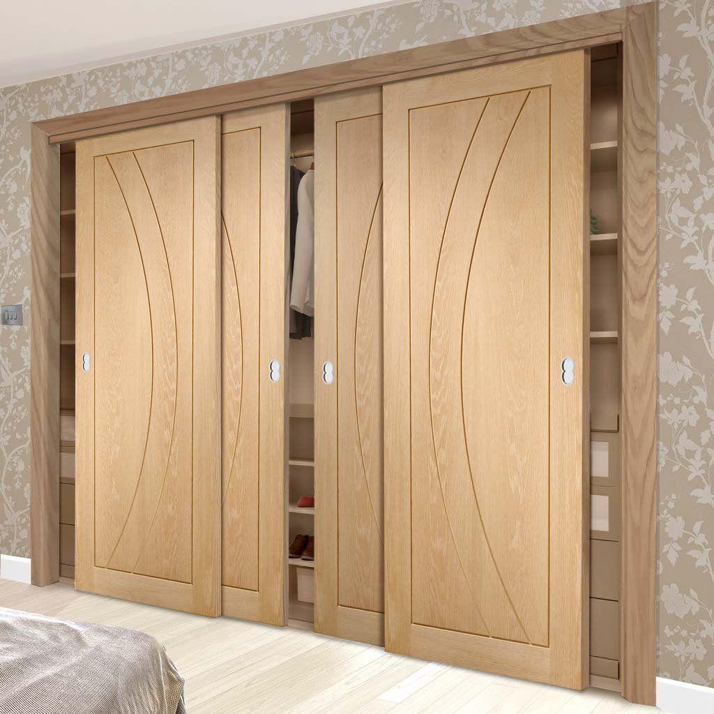 Thruslide Salerno Oak Flush Panel 4 Door Wardrobe And Frame Kit