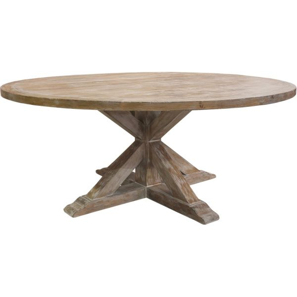 overstock dining room tables | La Phillippe Reclaimed Wood Round Dining Table | Overstock ...