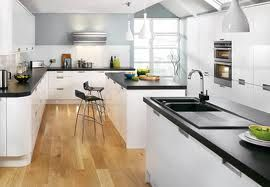 White Cabinets Low Ceiling Open Plan Kitchen Dining White Gloss