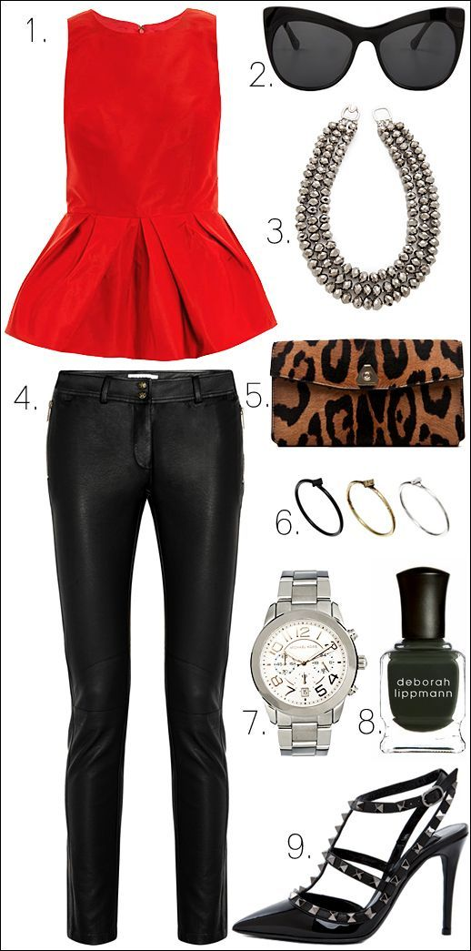 bc166d08b2 Black leather pants go perfectly with a red peplum top and retro strapped  heels. The little basic details are your emerald manicure