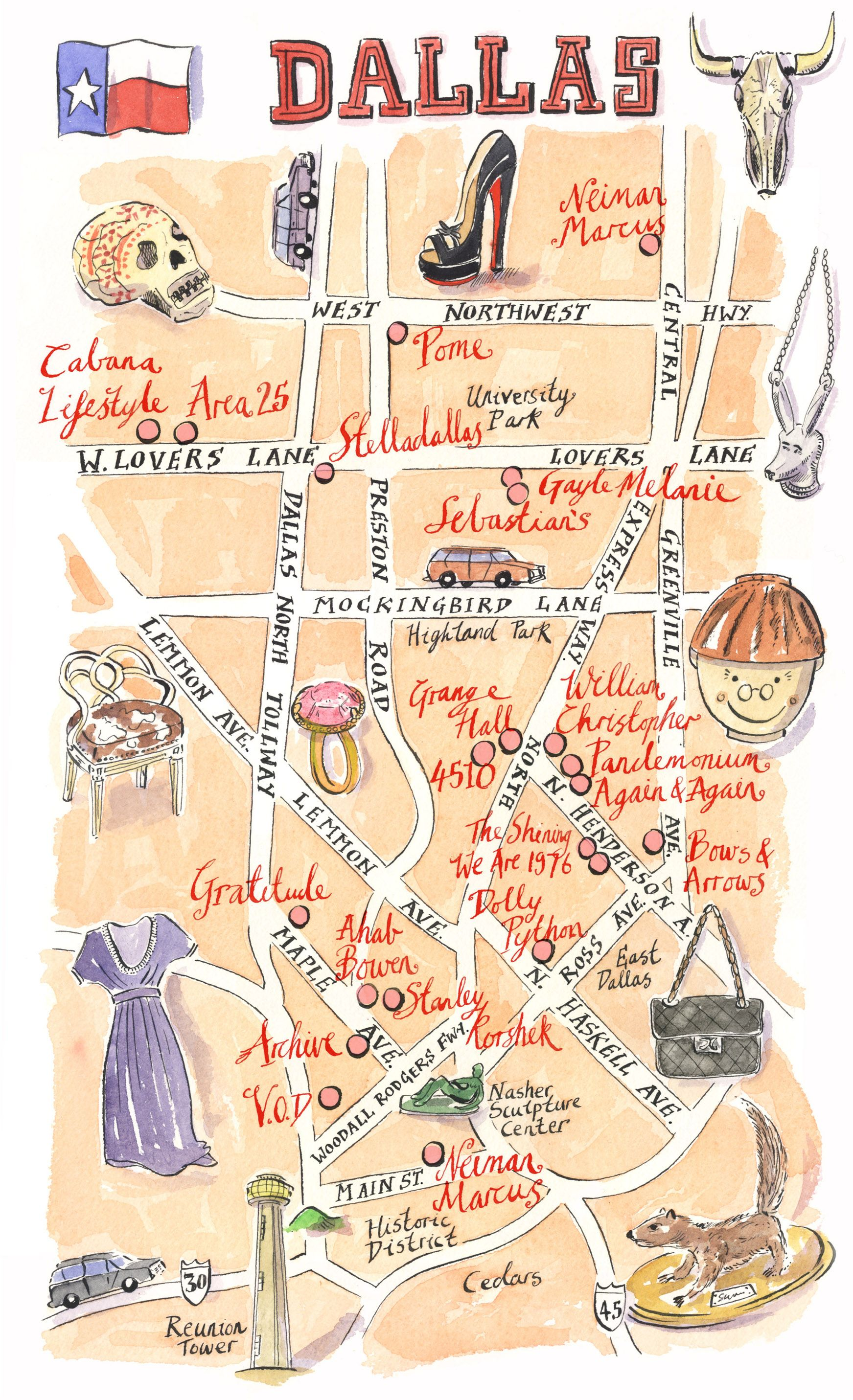 Map Of Texas Austin.Dallas Shopping Map For Lucky Magazine Dallas Mappery