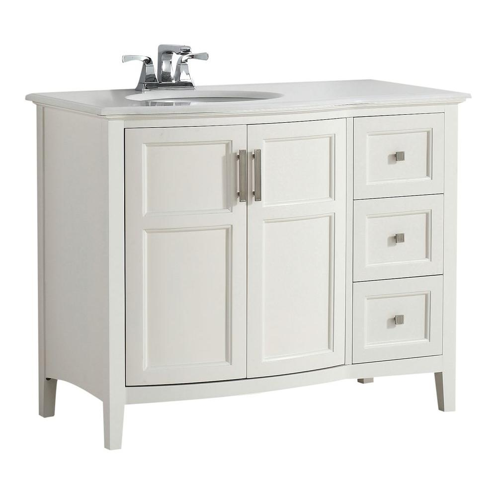Simpli Home Winston Rounded Front 42 In Bath Vanity In Soft White With Quartz Marble Vanity Top In Bombay White With White Basin 4axcvwnrw 42 The Home Depot Marble Vanity Tops Bathroom
