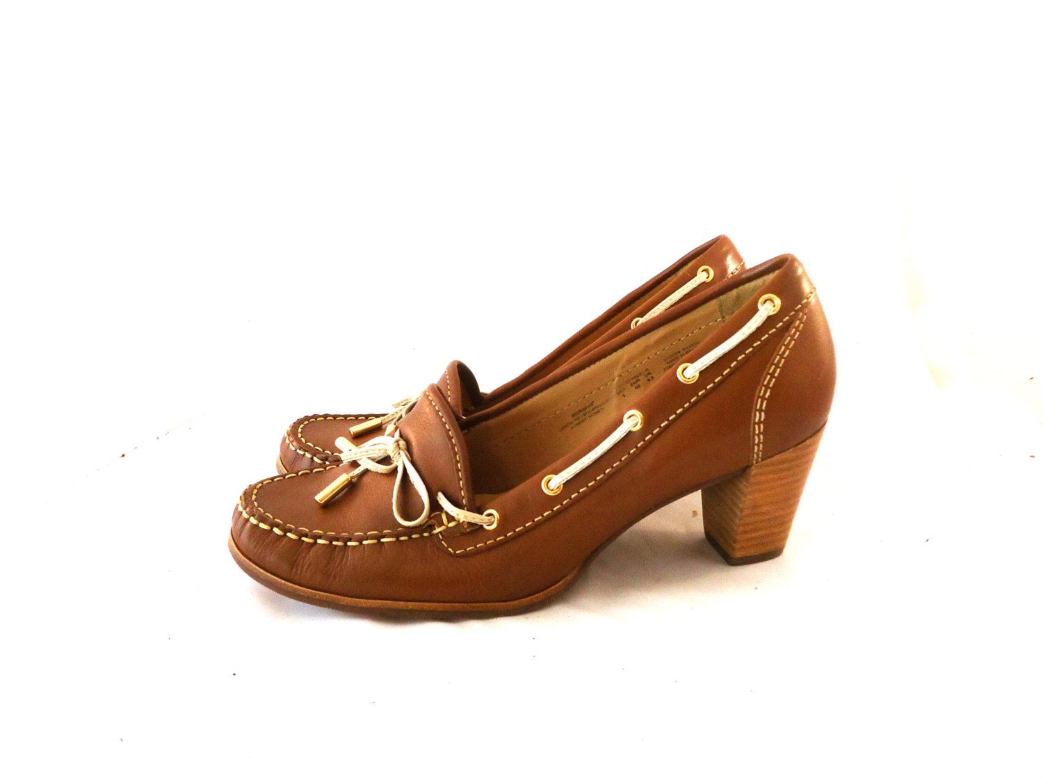 b6aa7527263 Unworn New 70s 80s Sebago Cognac Leather Moccasin w  Chunky Stacked Wood Heel  Shoes Size 8M 40 by aintweswank on Etsy