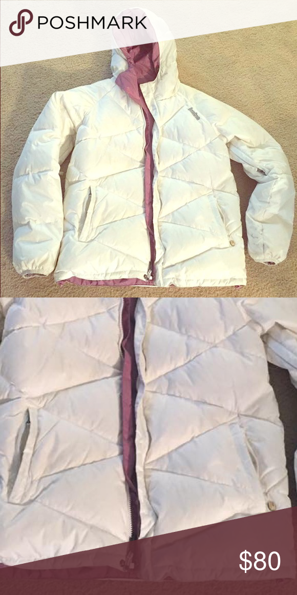 Burton L 50% down puff/paka Shows very little wear. Still bright white reversible. Side ventilation openings warm comfy cute Burton Jackets & Coats Puffers