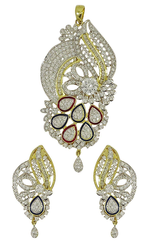 Matra twotone ad stone chain pendant earrings set ethnic bollywood
