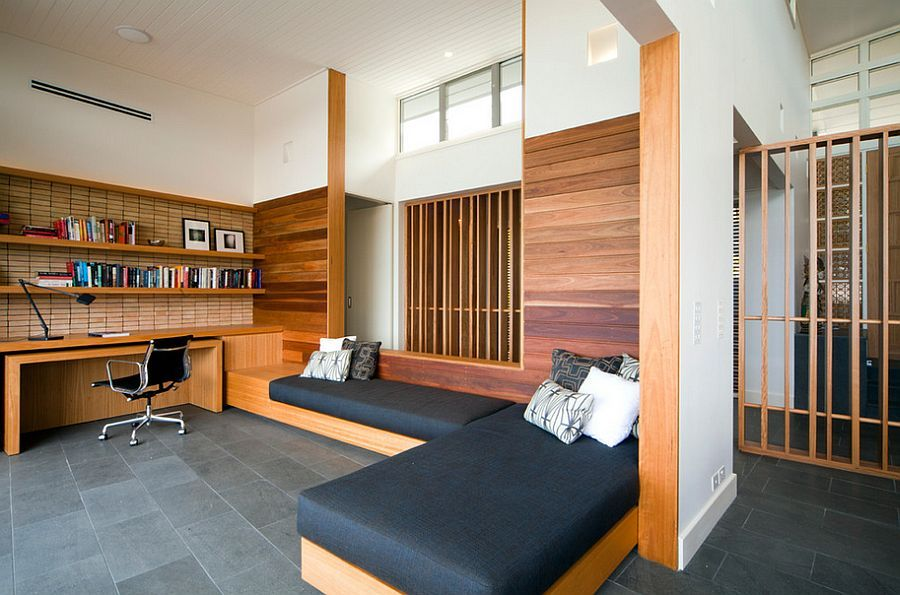 Ample space for overnight guests with daybeds in the home office [Design: justin long design]