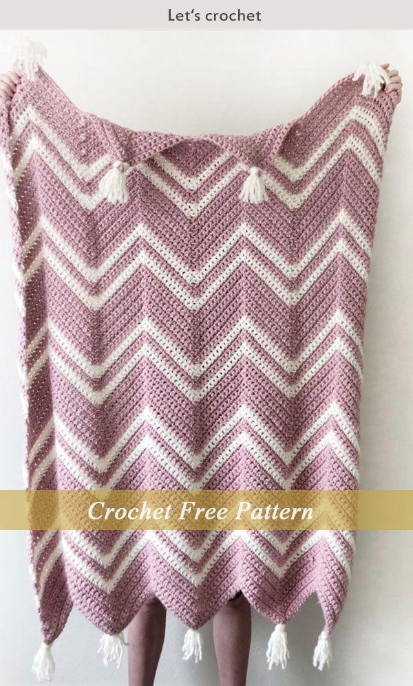Crochet Pink Chevron Throw Free Pattern Free Crochet Patterns New Pink Chevron Throw Blanket