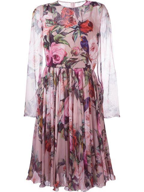 DOLCE & GABBANA Floral And Bird Print Dress. #dolcegabbana #cloth #dress