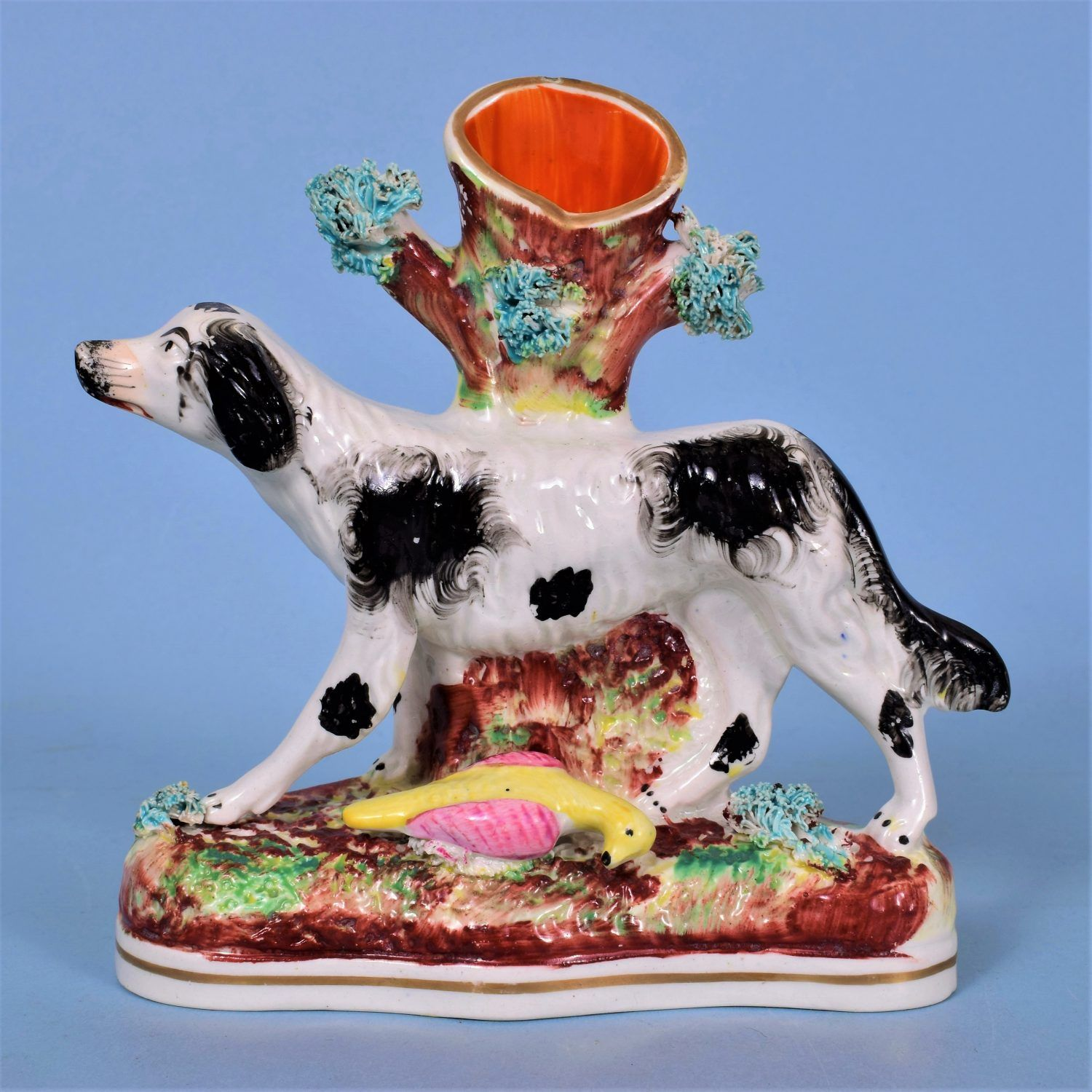 Staffordshire Spill Holder, Spaniel with Bird. – Andrew Dando – Antique Pottery & Porcelain Specialists