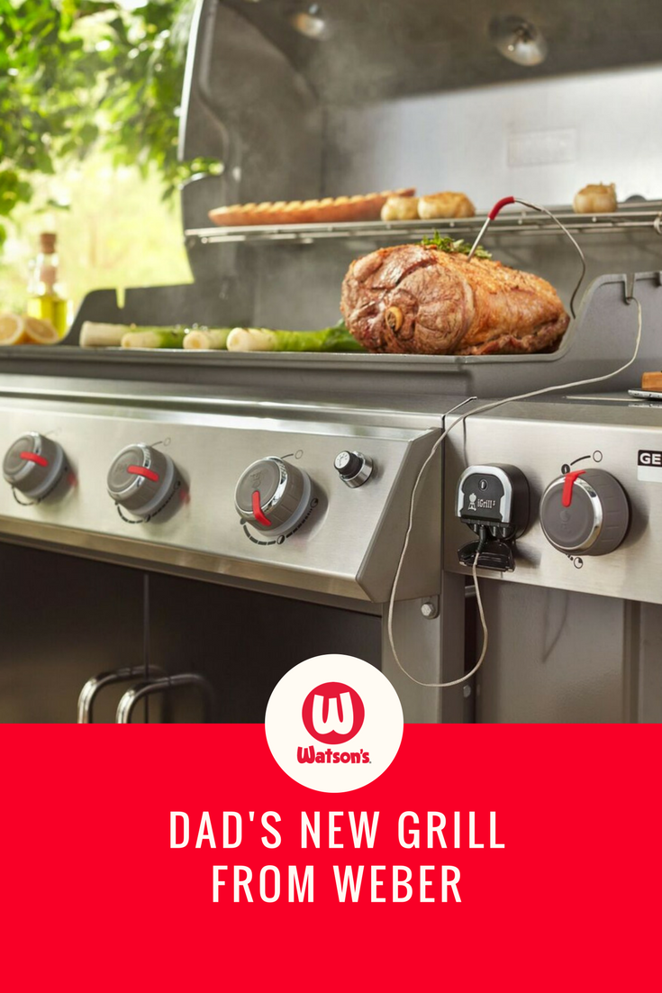 Introduce Dad to the latest in grilling technology by gifting him the combination of a Weber Genesis II grill and iGrill thermometer that he operates from his iPhone.