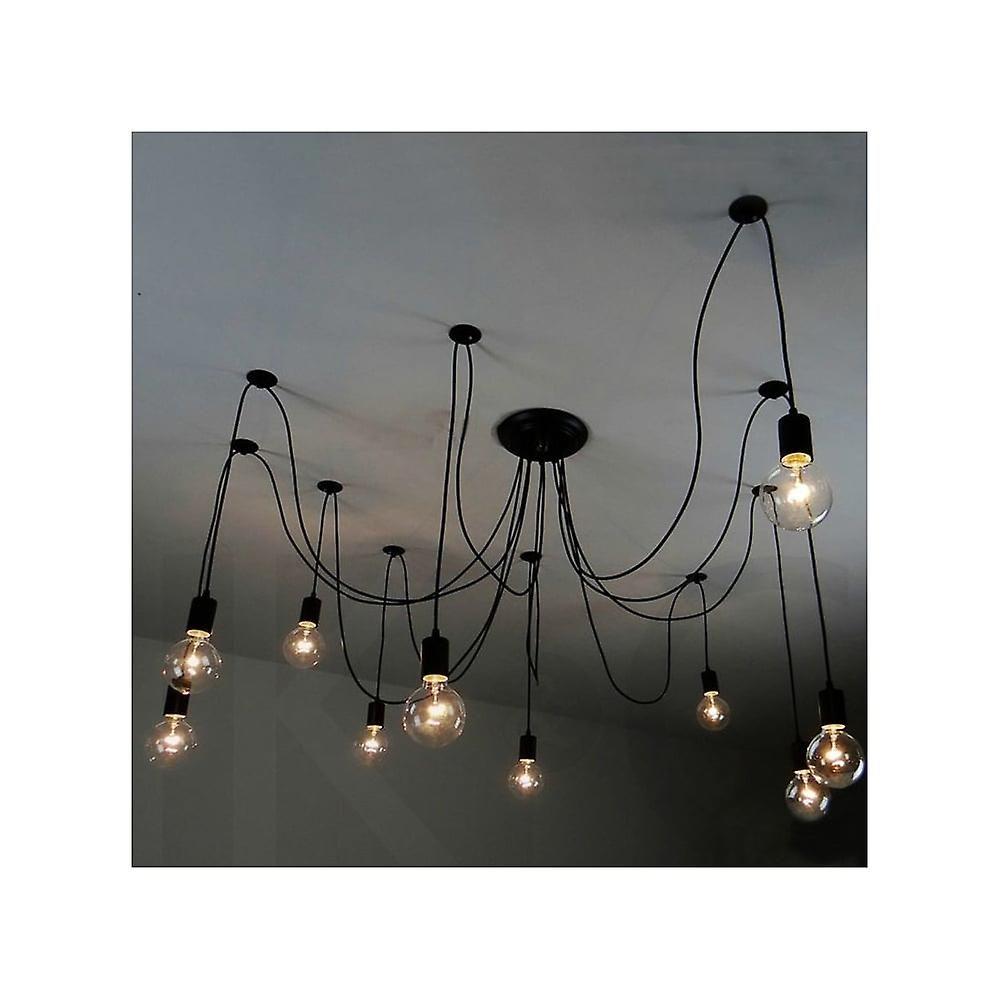Fix Black 10 Bulb Spider Ceiling Pendant Antique Classic Edison