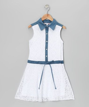 Take a look at this White & Denim Lace Collared Dress by Tween Approved: Colorful Dresses on @zulily today!