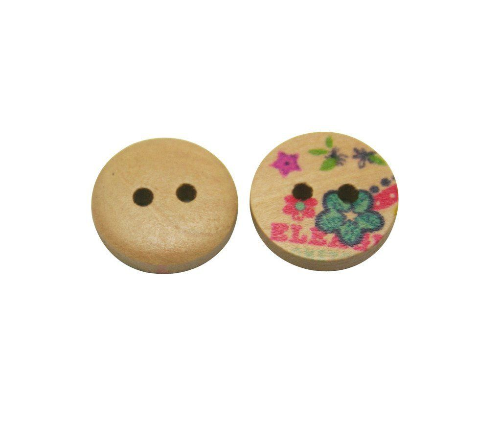 Amanaote Flower Painted Wooden Button Round 15mm Diameter with 2 Holes for Craft Sewing DIY Home Textile Pack of 50 ** See this great item.