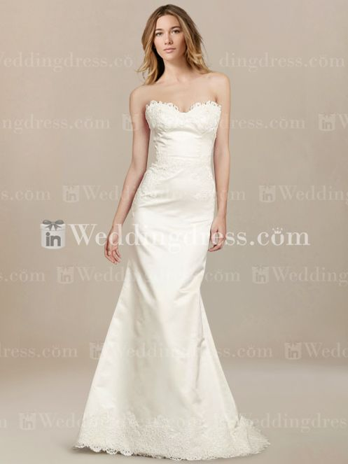 Fit N Flare Satin Bridal Dress With Lace Hem BC565