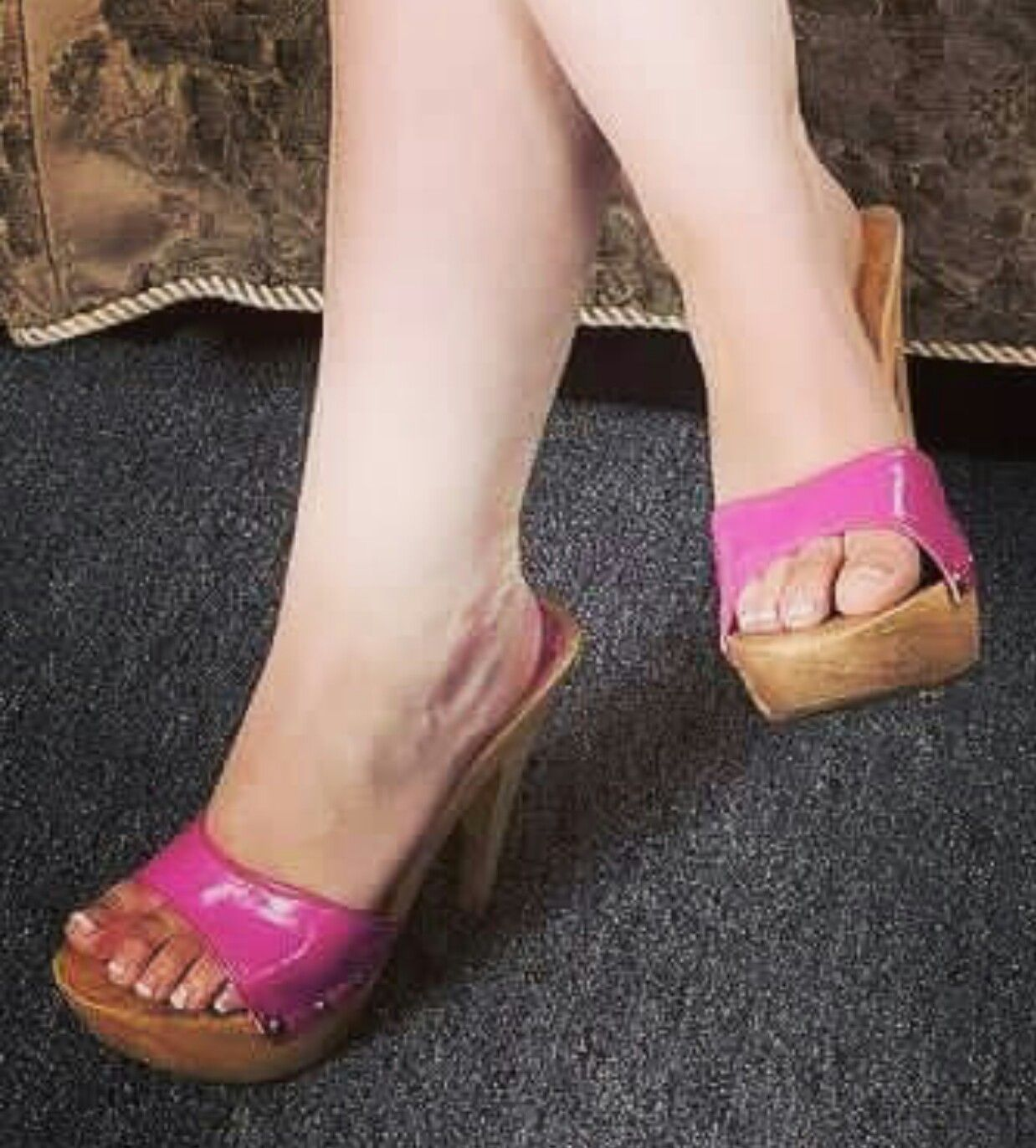 See and save as candid milf in hot wedges heels porn pict