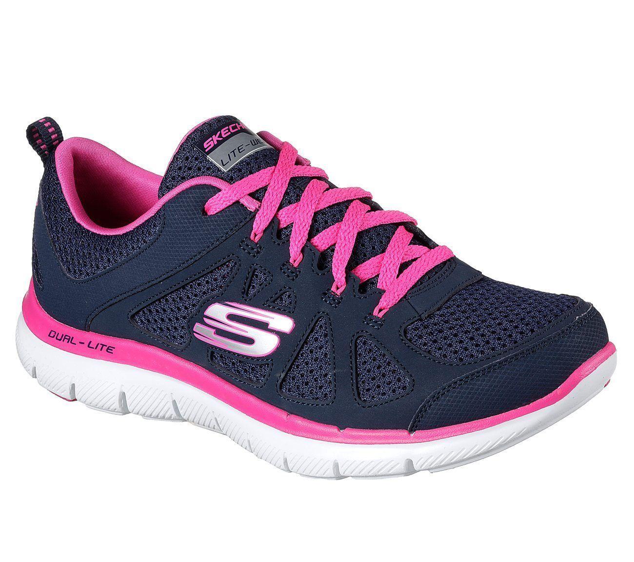 0bb3f37b68a3 12761 Navy Hot Pink Skechers Shoe Women Memory Foam Sport Train Comfort Flex