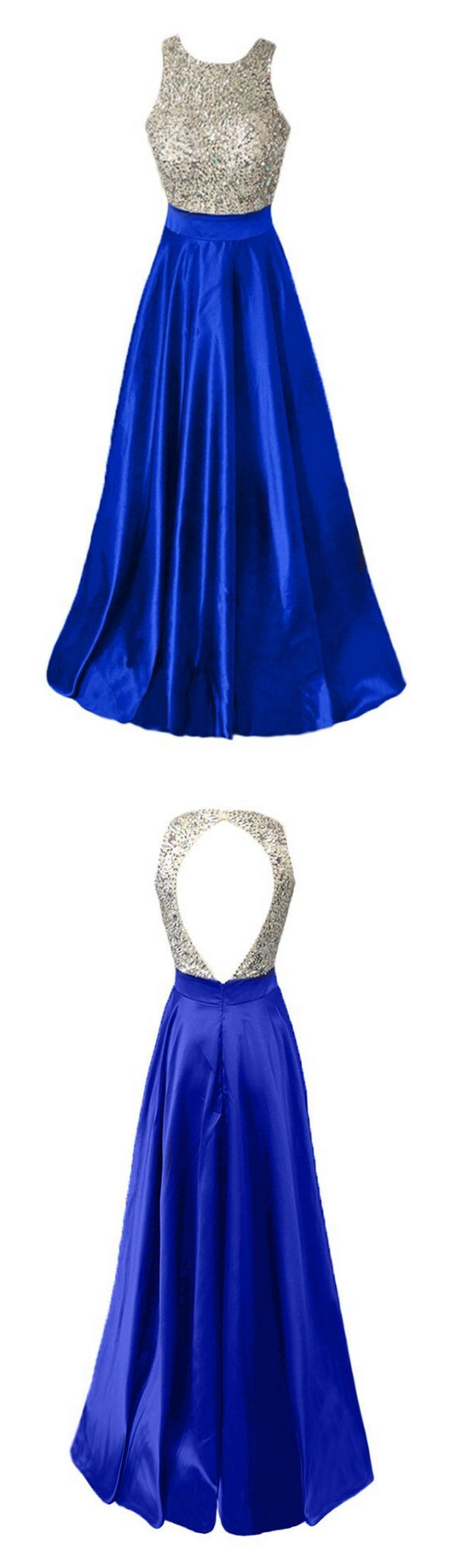 Royal blue stretch satin beaded top evening dresses hot cheap back