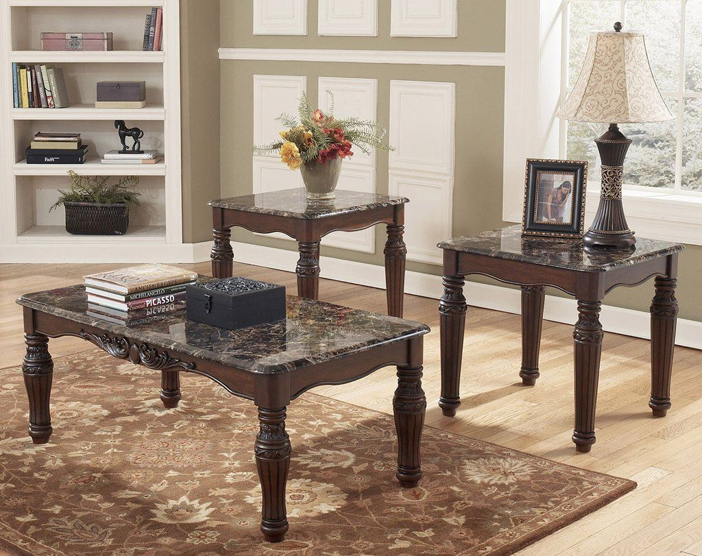 North Shore Faux Marble Coffee Table Set by Ashley Furniture & North Shore Faux Marble Coffee Table Set by Ashley Furniture ...