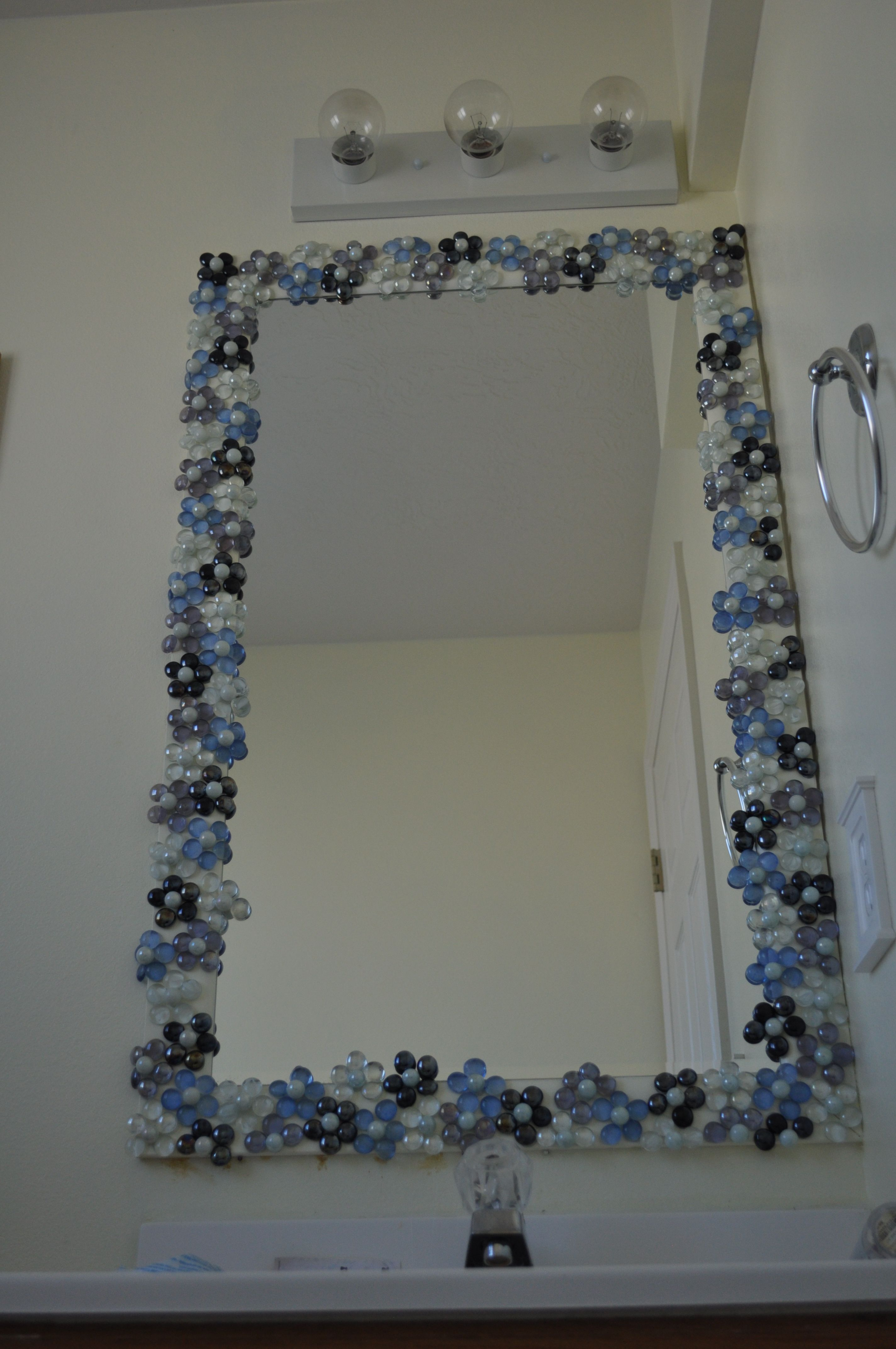 Stone Framed Bathroom Mirrors Glass Gems With Pearl Marble Centers To Dress Up A