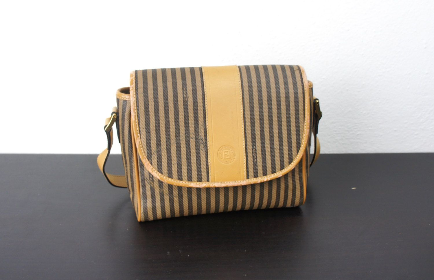 70f5a25c44 Vintage Fendi Small Striped Cross Body Purse with Long Adjustable Strap