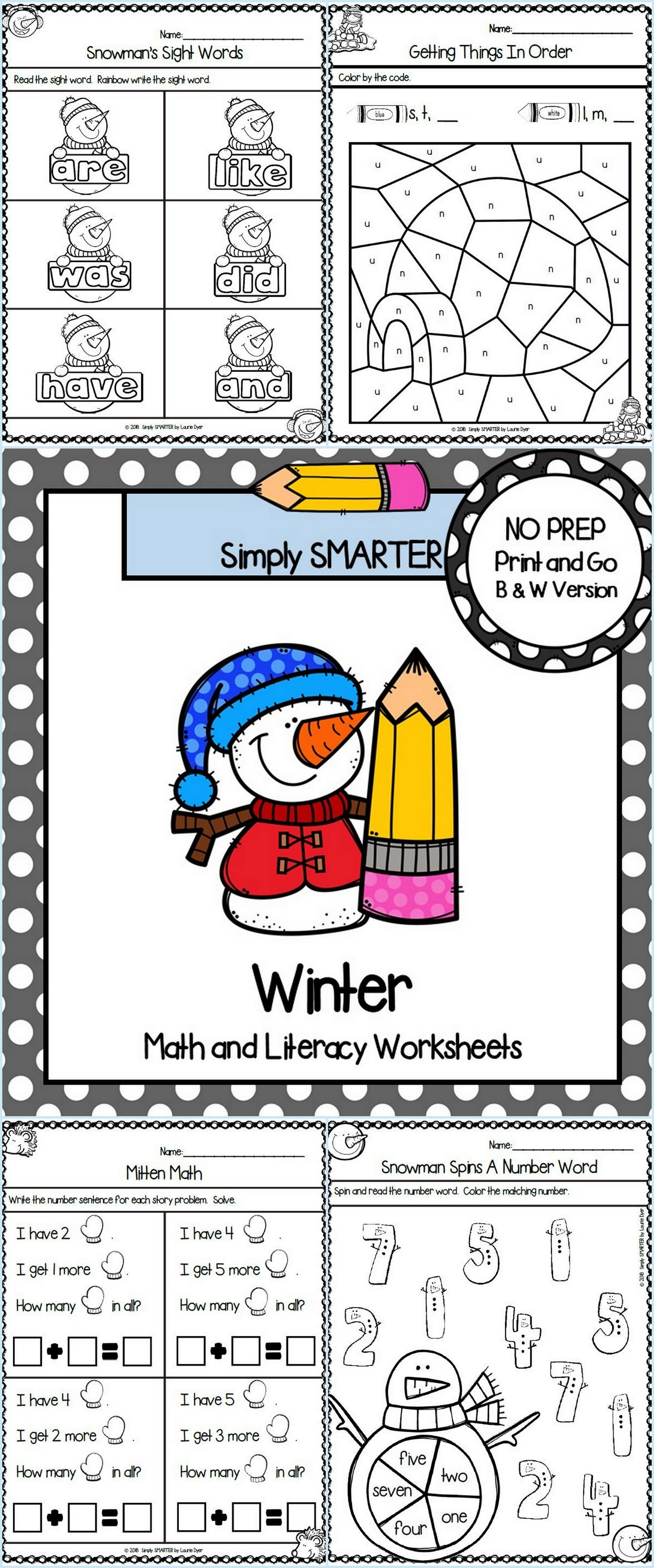 Winter Themed Kindergarten Math And Literacy Worksheets