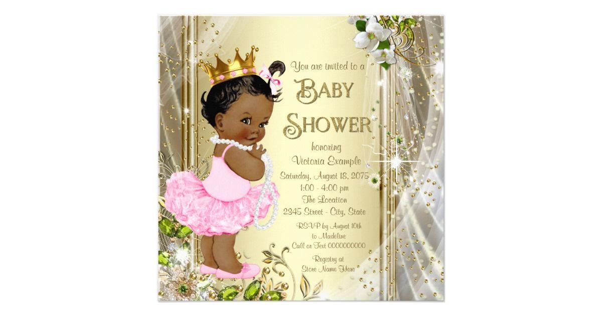 African American Princess Pink Tutu Baby Shower Card | Pink tutu ...