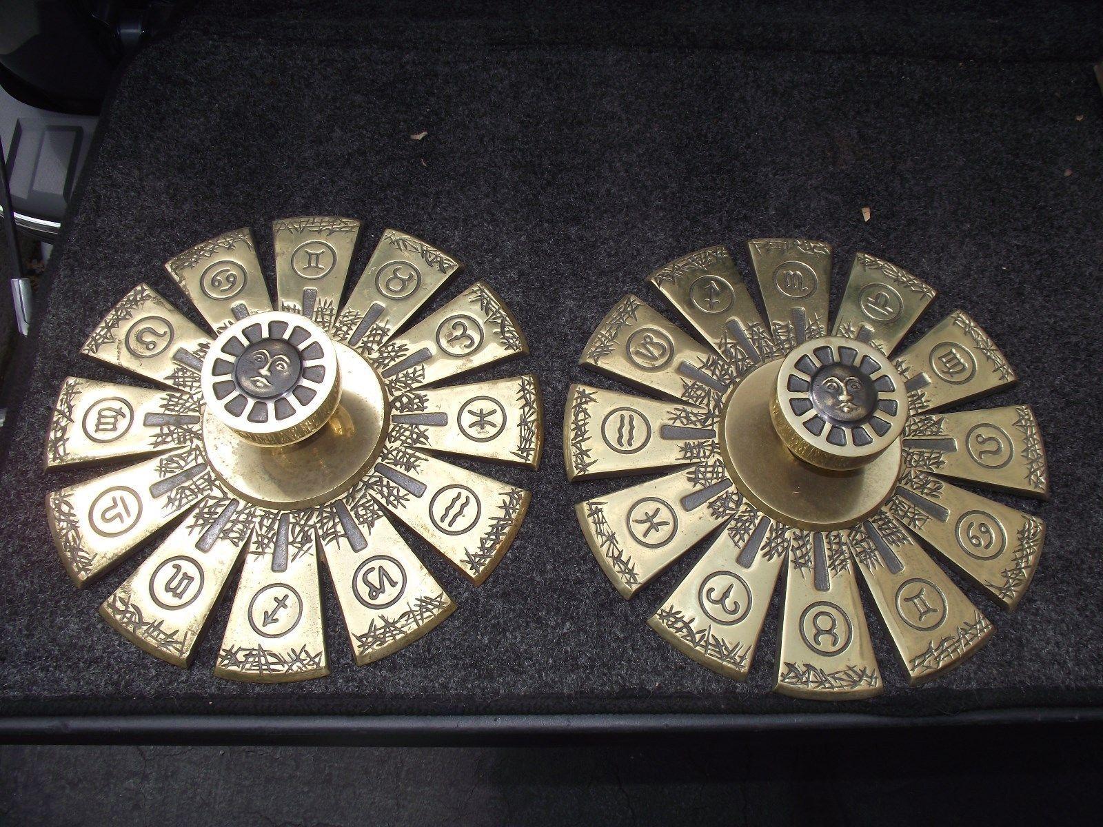 Mid Century Vintage Brass Door Knobs Set Zodiac 12 | EBay