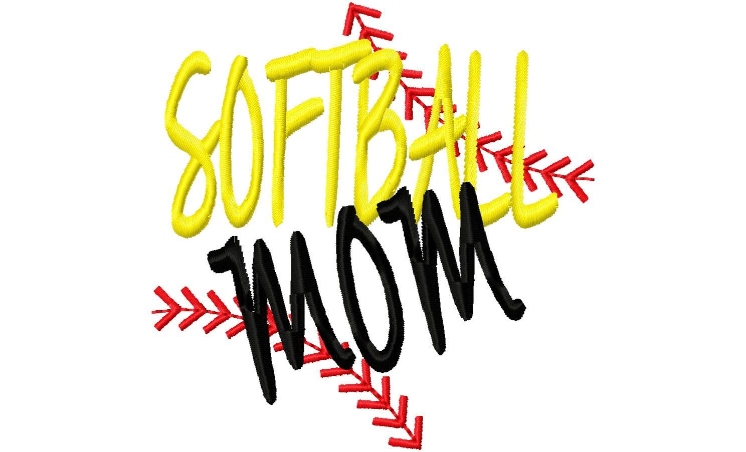 Softball Mom Ball Stitches Machine Embroidery Design Instant