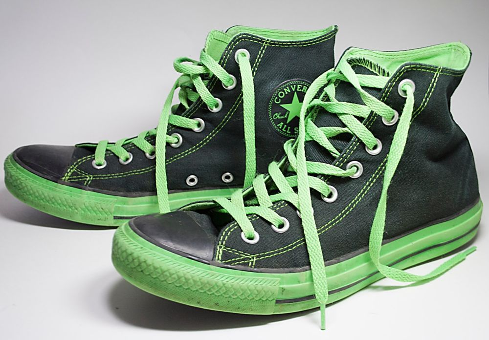 6e3cee1ceb8 Converse Chuck Taylor Black   Neon Green High Top All Stars - Men 8 Women  10  Converse  HighTopChuckTaylor
