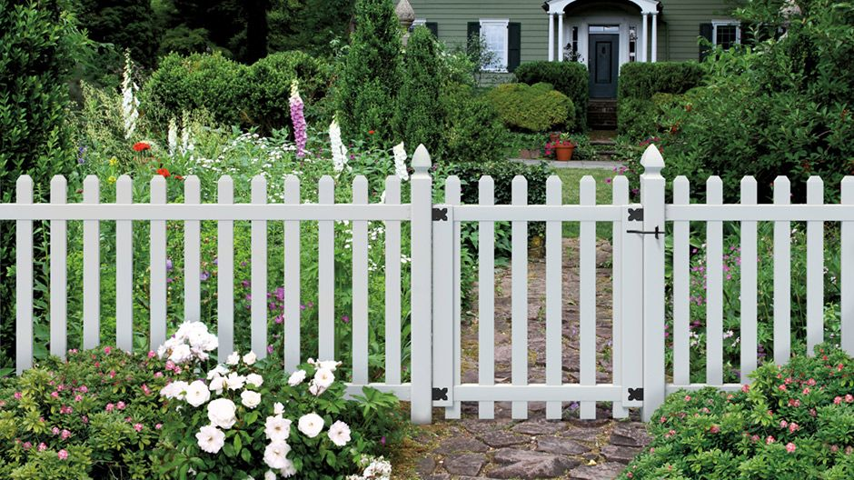 Veranda Glendale 4 Ft H X 8 Ft W White Vinyl Spaced Picket Unassembled Fence Panel With Dog Ear Pickets 152811 In 2020 White Vinyl Fence Fence Styles Vinyl Picket Fence