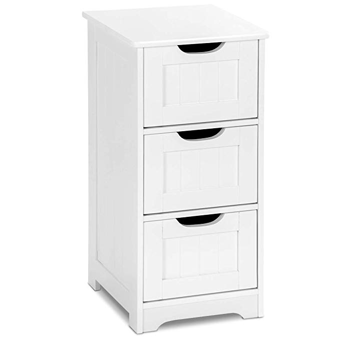 Amazon Com Tangkula Floor Cabinet 3 Drawers Wooden Storage Cabinet For Home Office Living Wooden Storage Cabinet Bathroom Floor Cabinets Bedroom Night Stands White storage cabinet with drawers