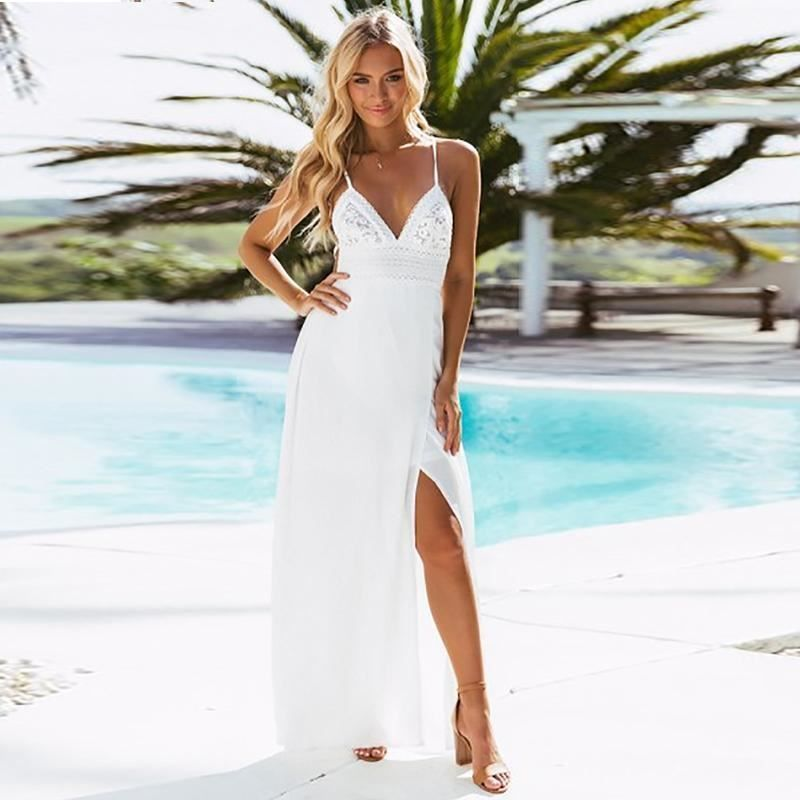 df30f16412c Print Lace Strap V Neck Split Women Summer Backless Chiffon Long Dress   fashion  clothing  shoes  accessories  womensclothing  dresses (ebay link)