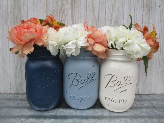 Painted Ball Mason Jars Flower Vases Slate Bluegraydusty Wedding