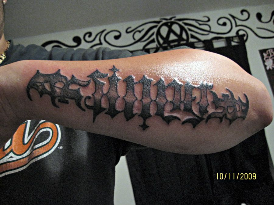 Nice Ambigram Tattoo On Outer Left Forearm Ambigram Tattoo Epic