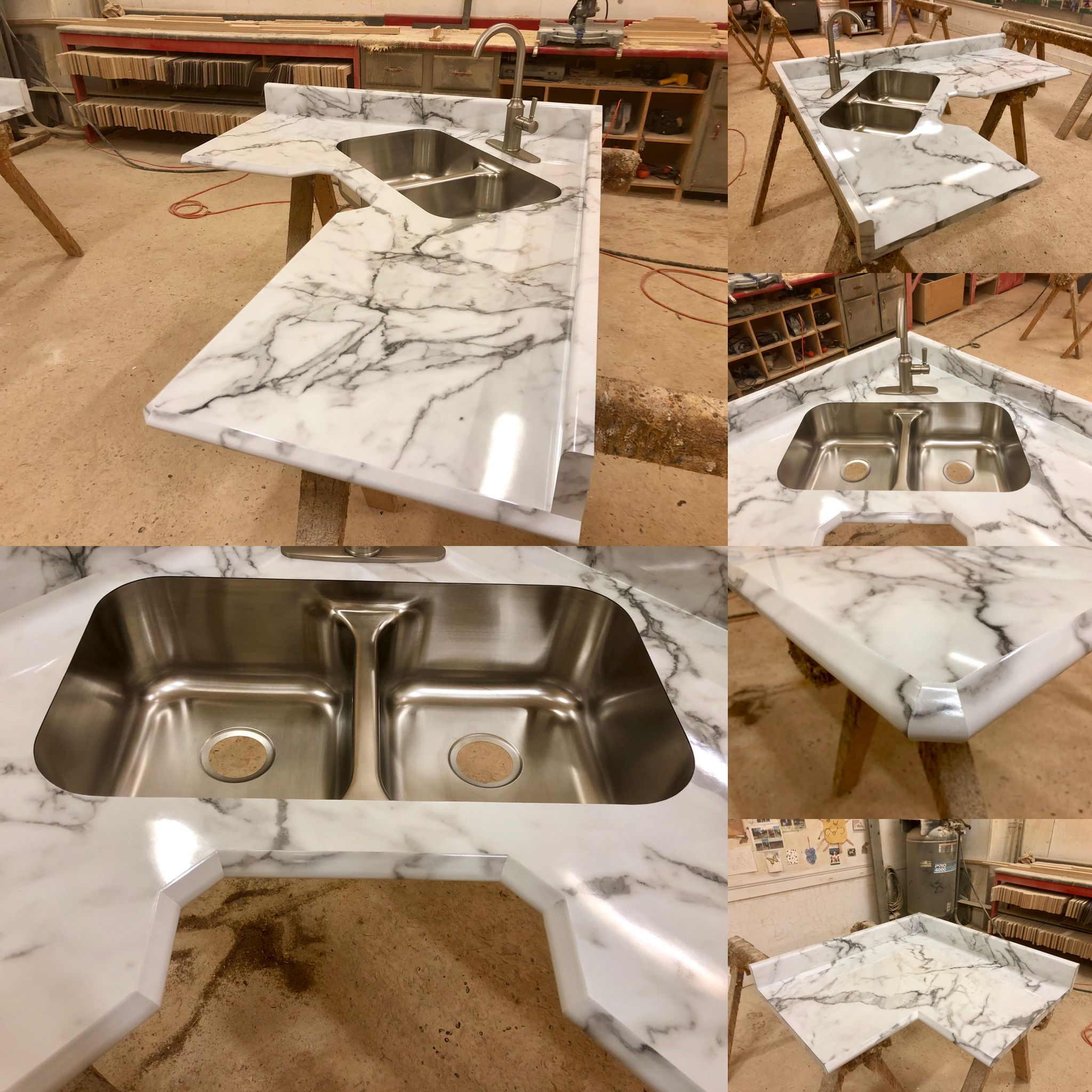 Another Beautiful Laminate Countertop All Manufactured Here At Poneys S This Countertop Is In Formica S Calcutta Mar Laminate Countertops Countertops Laminate