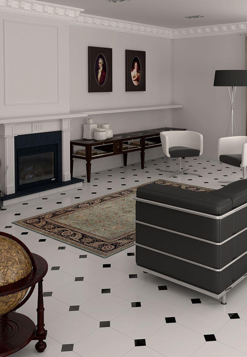 Alaska Octagonal Floor Tiles With Black Tile Insert