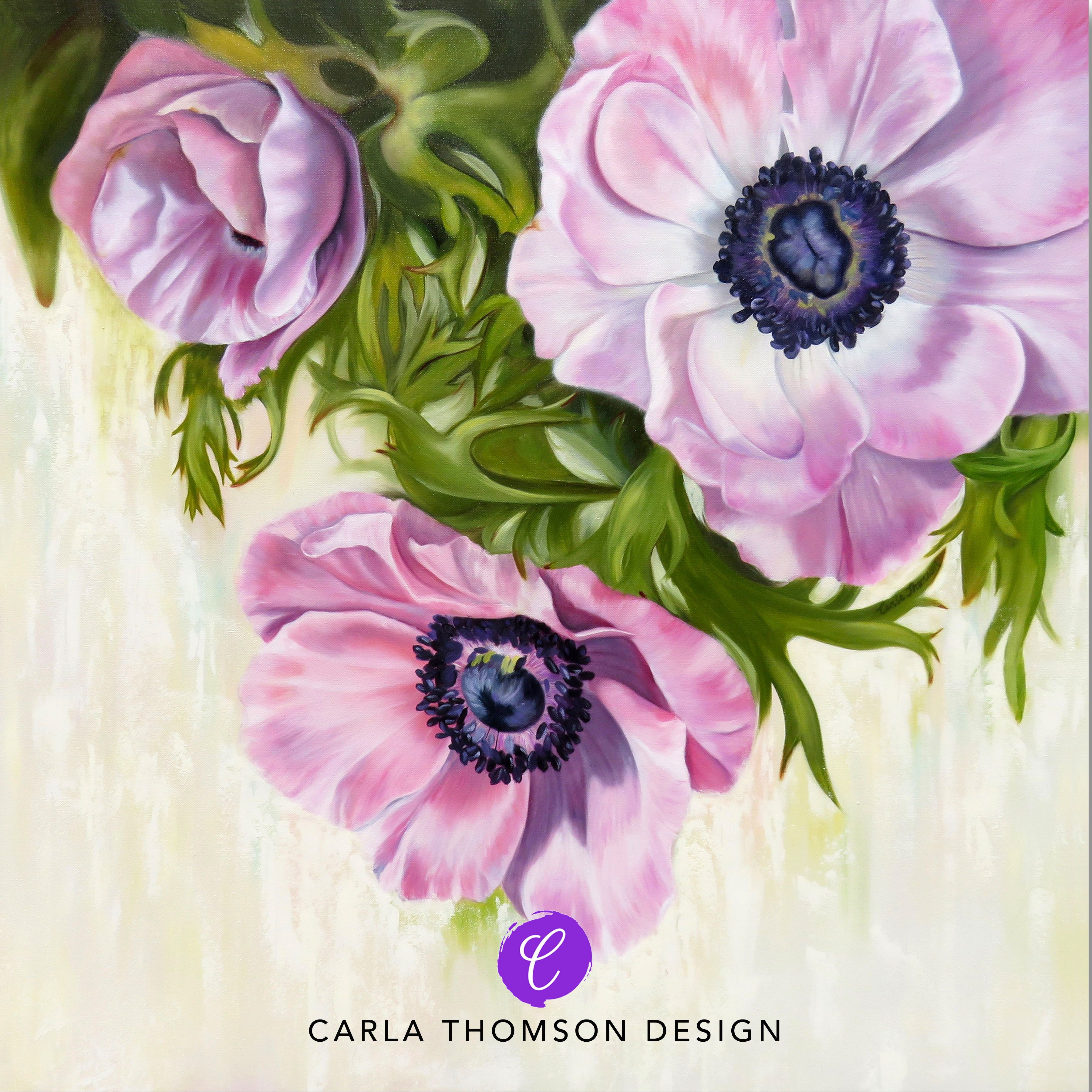 Large Original Art Oil Painting Of Pink Anemone Flowers Pink And White Windflowers Floral Canvas Art Office D Art Painting Oil Floral Painting Oil Painting