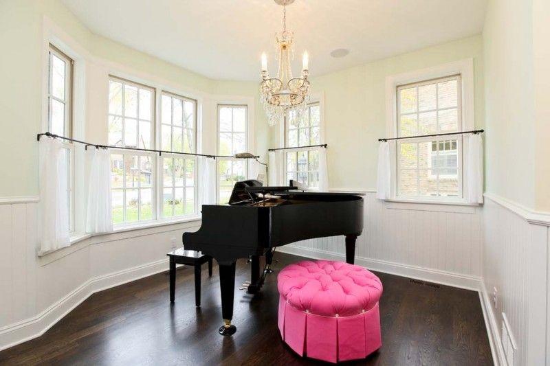 piano room with light yellow wall system white cafe curtains with ...