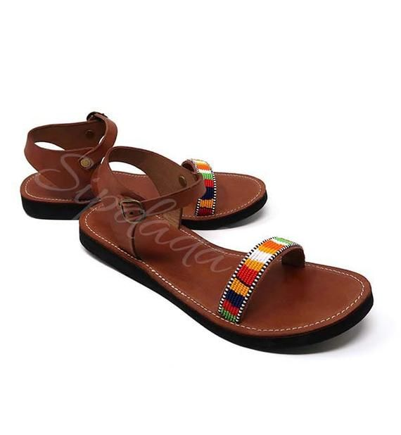 46d1f52e1c445 Maasai sandals Leather sandals beaded sandals African