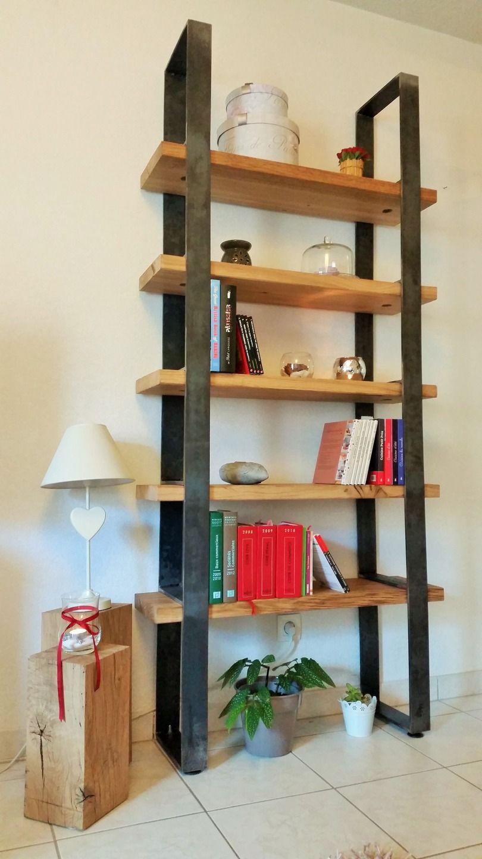 Tag Re Biblioth Que Ch Ne Massif Acier Brut Deco Pinterest  # Etagere Industrielle Bois De Grange
