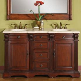 Silkroad Exclusive 58 In Brazilian Rosewood Double Sink Bathroom