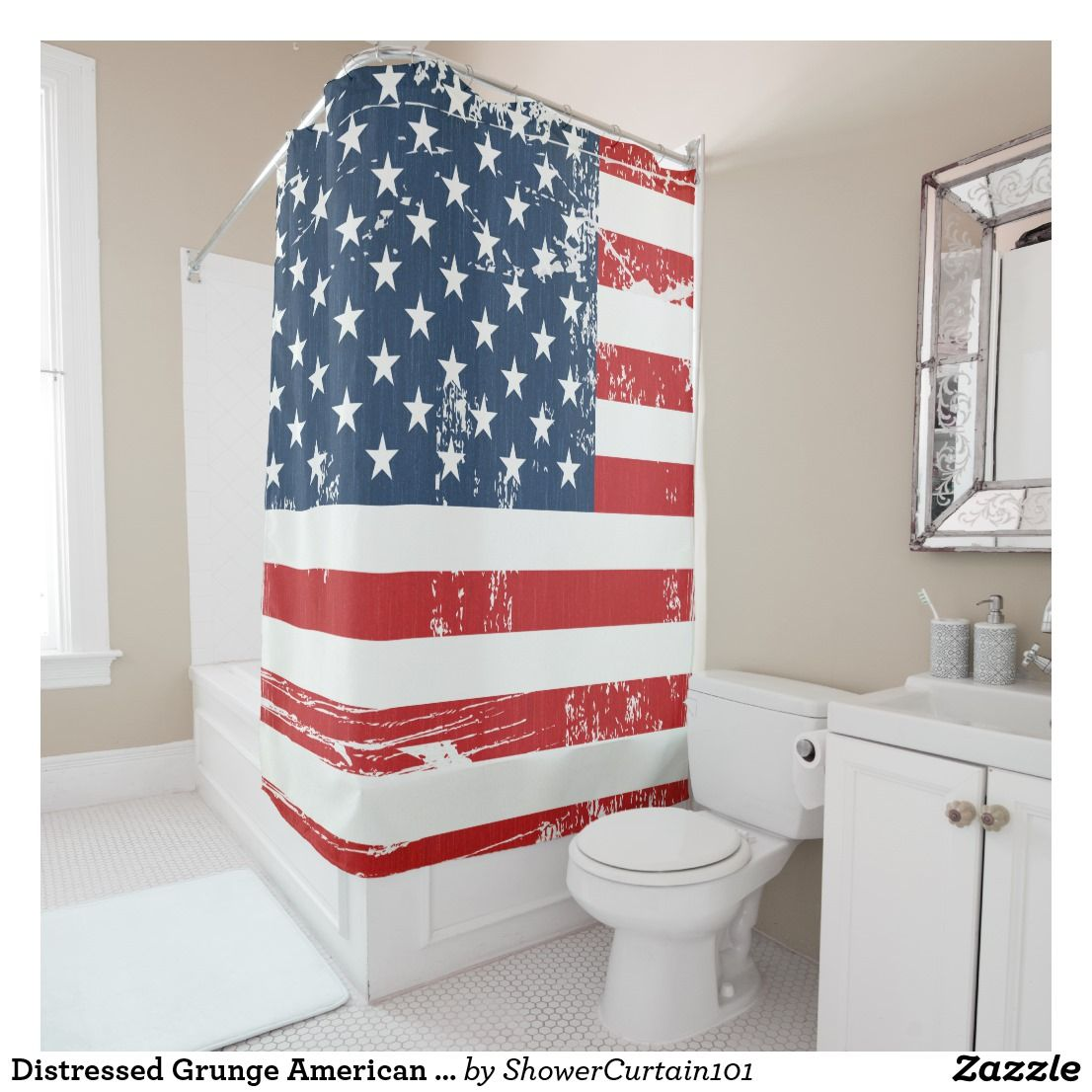 Distressed Grunge American Flag Old Vintage Look Shower Curtain Zazzle Com Curtains Printed Shower Curtain