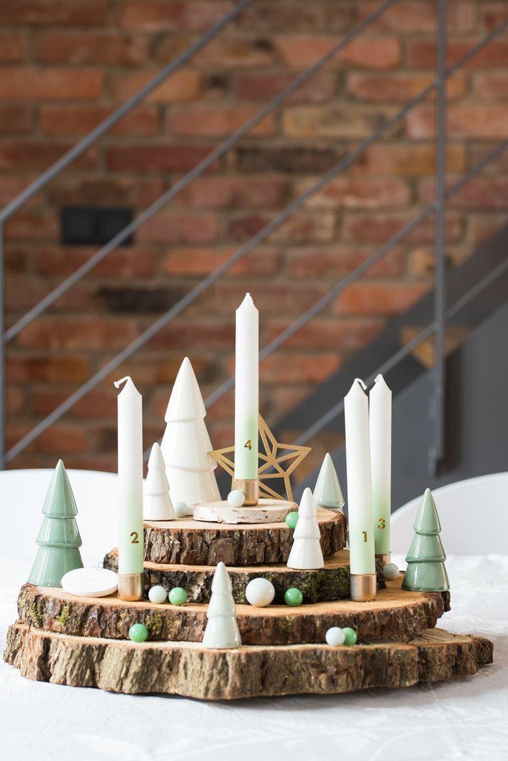 adventskranz aus baumscheiben weihnachten baumscheiben. Black Bedroom Furniture Sets. Home Design Ideas