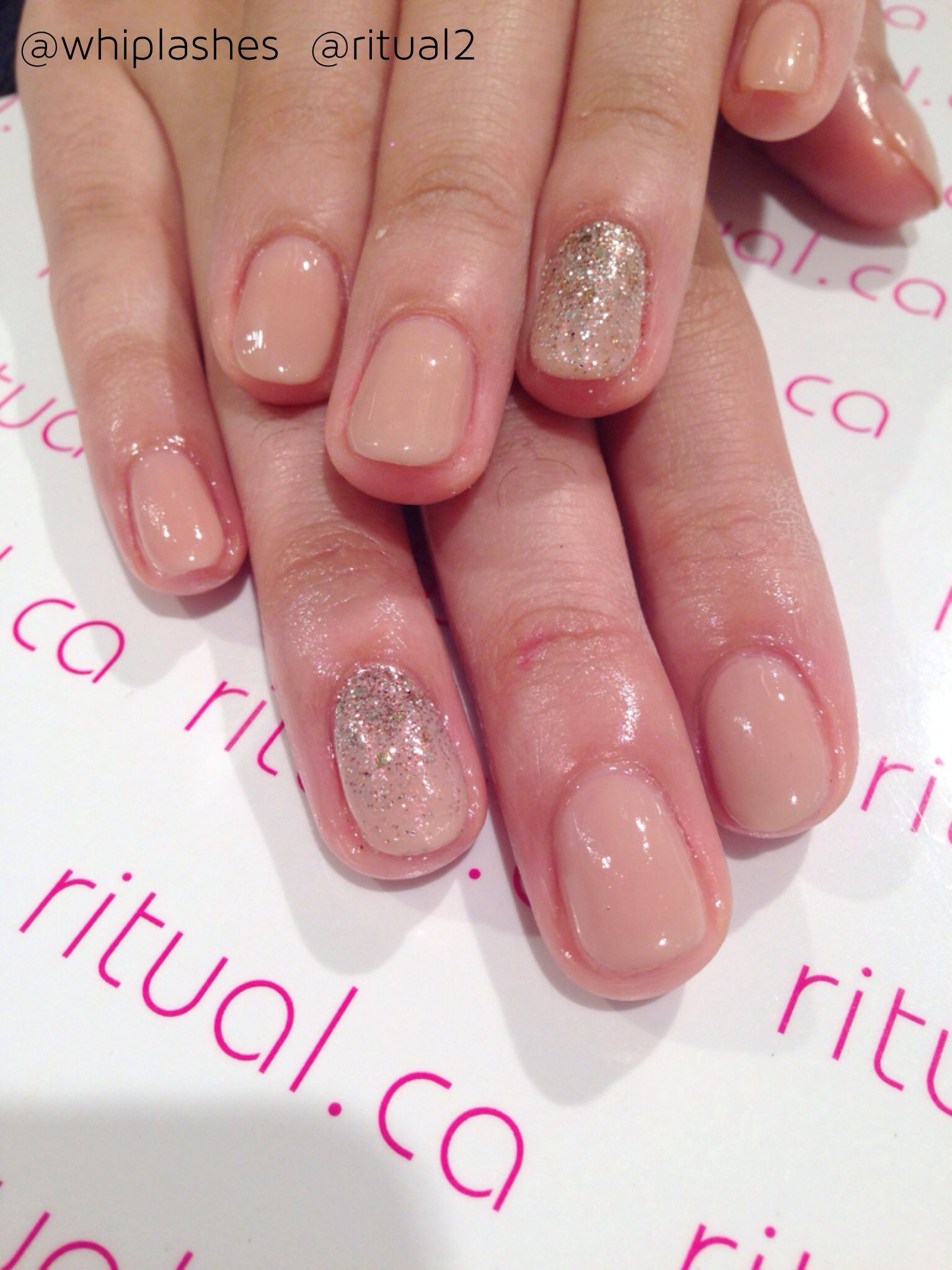 Cnd Shellac In Powder My Nose Over Satin Pajamas Feature Nail Using Cnd Additive In Pink Gold